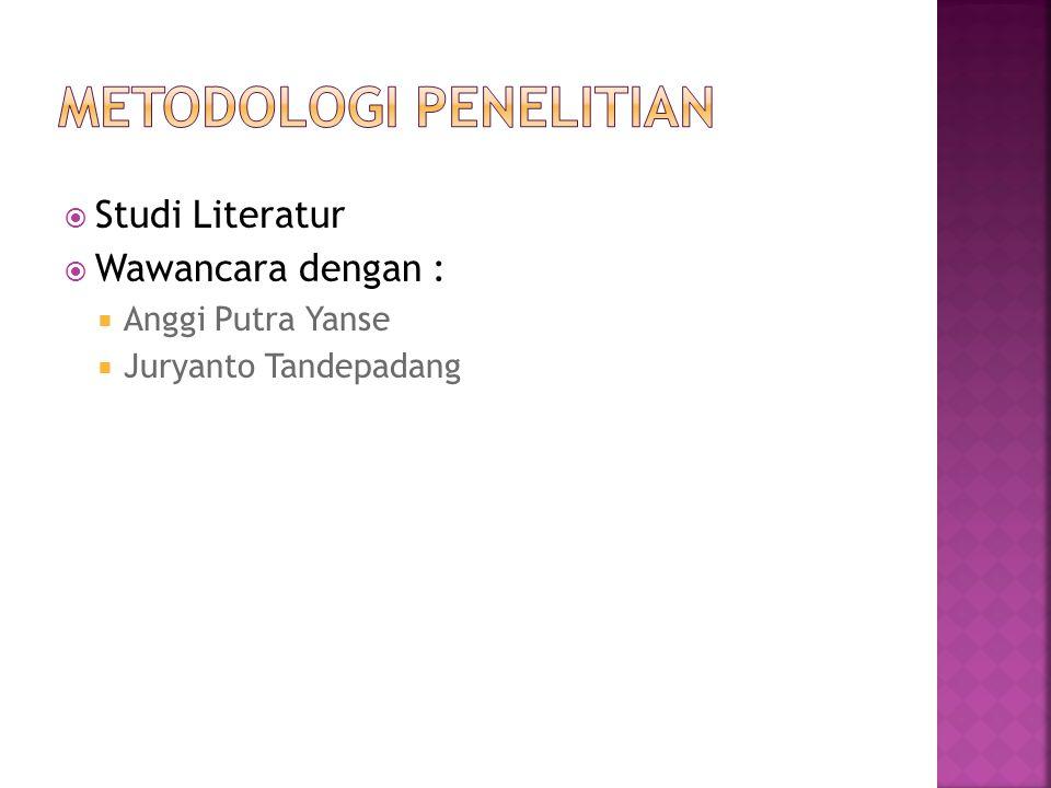  Studi Literatur  Wawancara dengan :  Anggi Putra Yanse  Juryanto Tandepadang