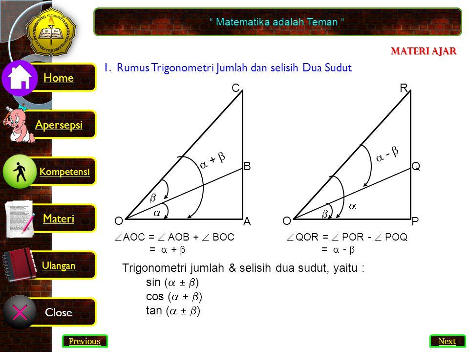 46 3.Hitunglah nilai Bahasan: 2sin .cos  = sin(  +  ) + sin(  -  ) = = 2.