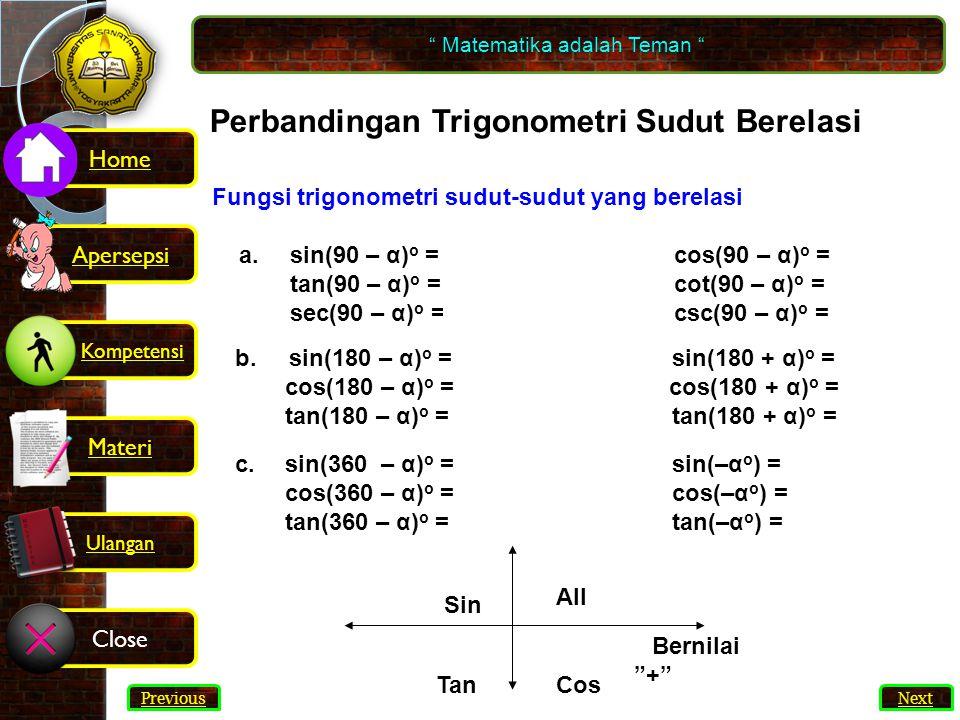 Fungsi trigonometri sudut-sudut yang berelasi a.