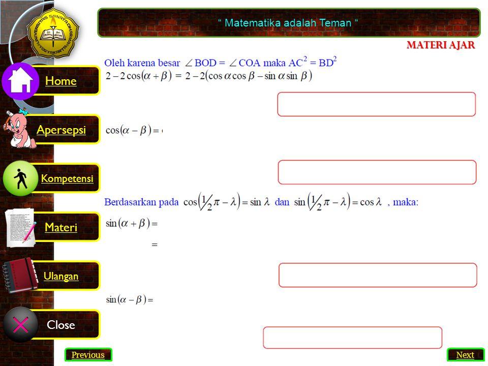 Soal Matematika adalah Teman 1.Nyatakan sin6A + sin4A sebagai bentuk perkalian.