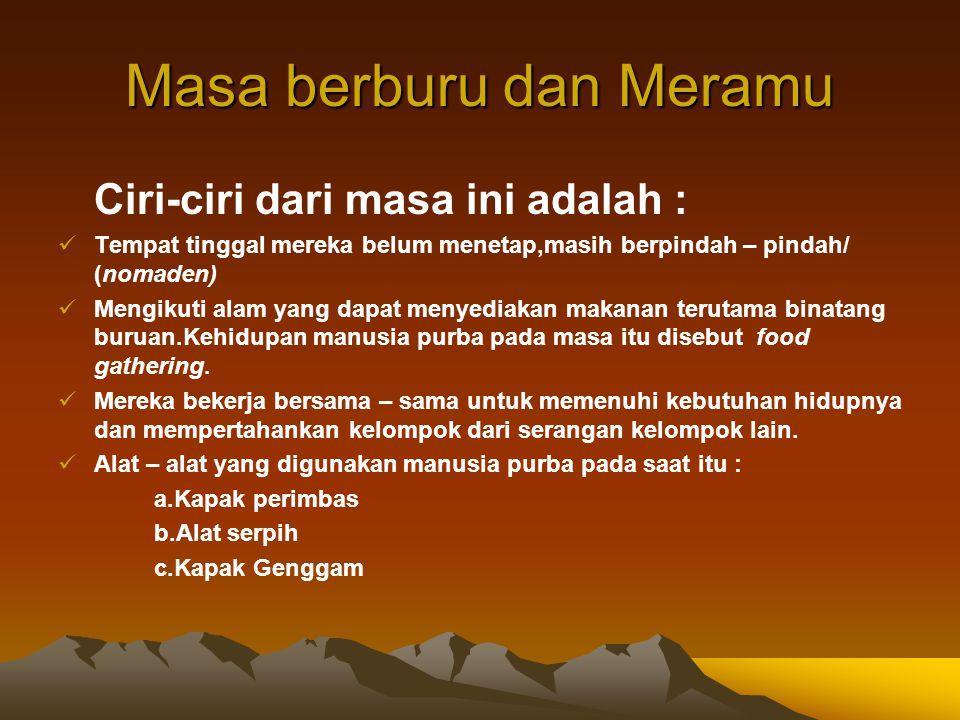 Perkembangan manusia purba di Indonesia 1. Masa Berburu dan Meramu 2. Masa Bercocok Tanam 3. Masa Pertukangan (perundagian) 4. Masa mengenal sistem ke