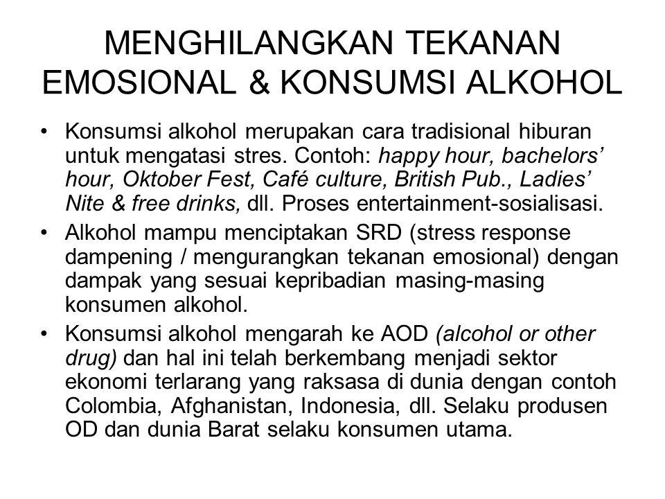 MENGHILANGKAN TEKANAN EMOSIONAL & KONSUMSI ALKOHOL Konsumsi alkohol merupakan cara tradisional hiburan untuk mengatasi stres. Contoh: happy hour, bach