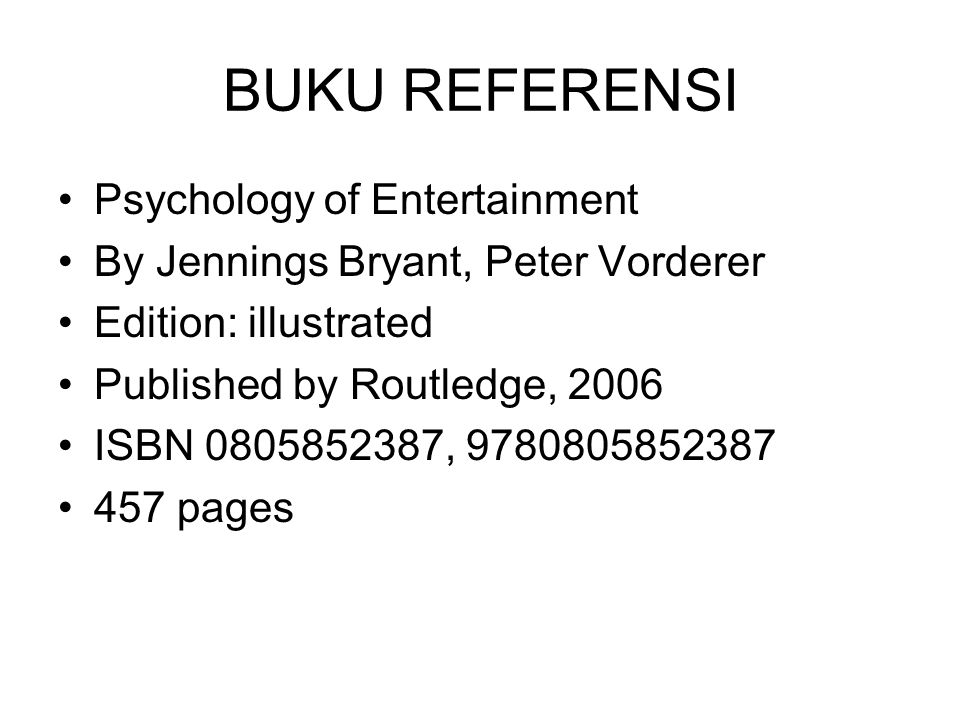 BUKU REFERENSI Psychology of Entertainment By Jennings Bryant, Peter Vorderer Edition: illustrated Published by Routledge, 2006 ISBN 0805852387, 97808