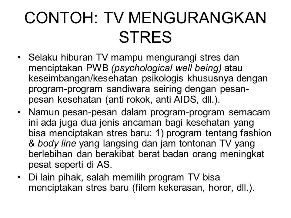 CONTOH: TV MENGURANGKAN STRES Selaku hiburan TV mampu mengurangi stres dan menciptakan PWB (psychological well being) atau keseimbangan/kesehatan psik