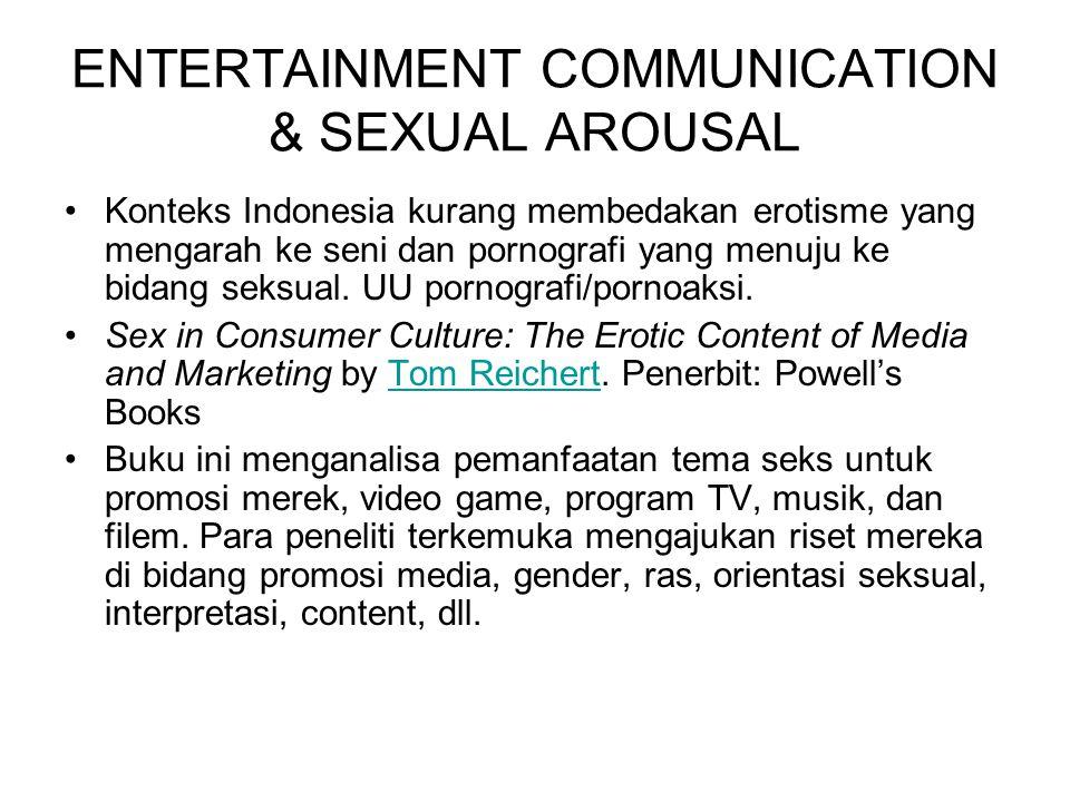 ENTERTAINMENT COMMUNICATION & SEXUAL AROUSAL Konteks Indonesia kurang membedakan erotisme yang mengarah ke seni dan pornografi yang menuju ke bidang s