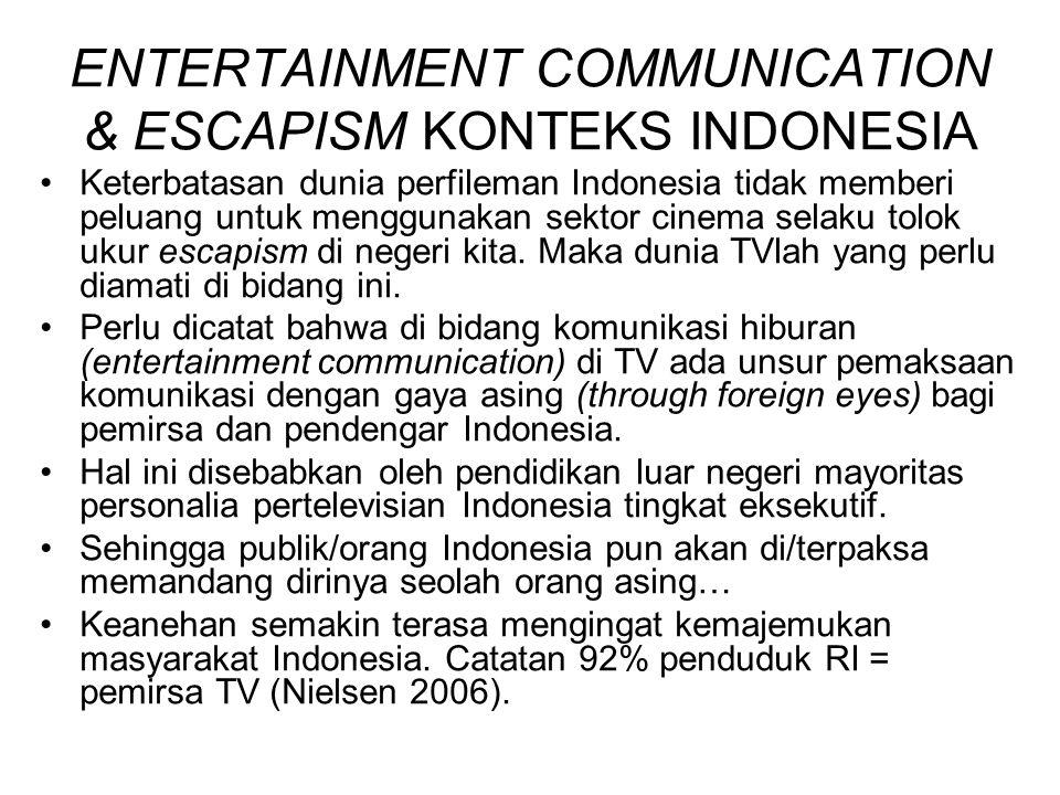ENTERTAINMENT COMMUNICATION & ESCAPISM KONTEKS INDONESIA Keterbatasan dunia perfileman Indonesia tidak memberi peluang untuk menggunakan sektor cinema