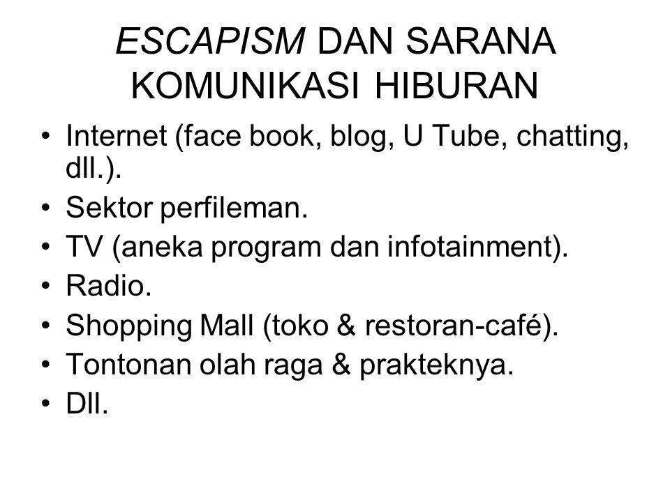 ESCAPISM DAN SARANA KOMUNIKASI HIBURAN Internet (face book, blog, U Tube, chatting, dll.).