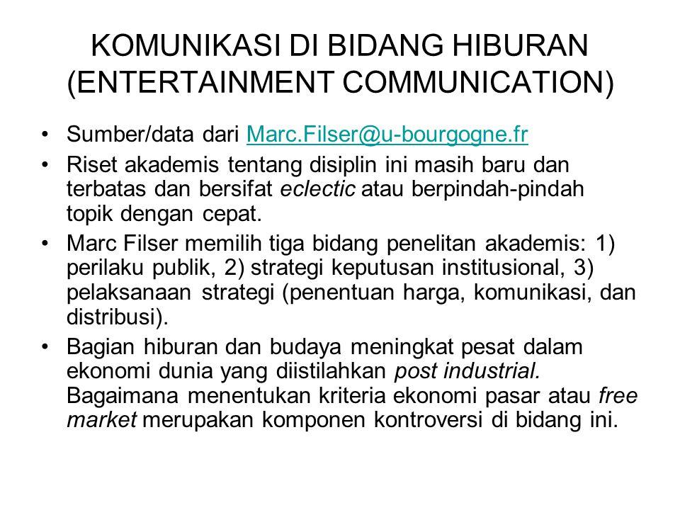 ENTERTAINMENT COMMUNICATION & ESCAPISM KONTEKS INDONESIA Keterbatasan dunia perfileman Indonesia tidak memberi peluang untuk menggunakan sektor cinema selaku tolok ukur escapism di negeri kita.