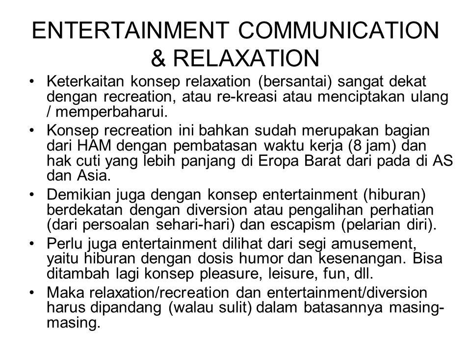 ENTERTAINMENT COMMUNICATION & RELAXATION Keterkaitan konsep relaxation (bersantai) sangat dekat dengan recreation, atau re-kreasi atau menciptakan ula