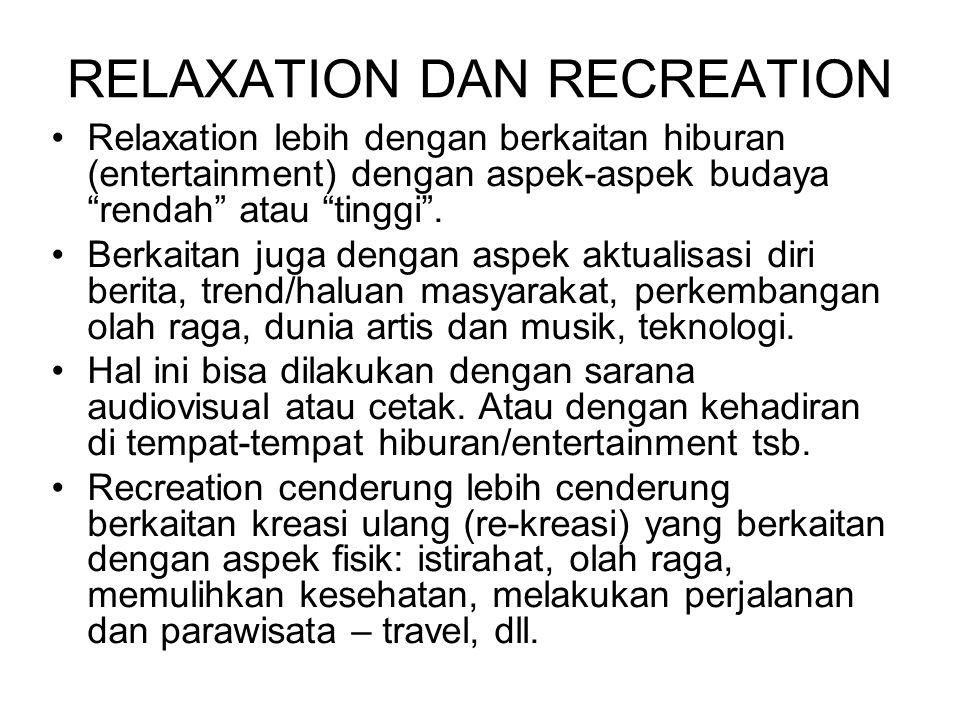 """RELAXATION DAN RECREATION Relaxation lebih dengan berkaitan hiburan (entertainment) dengan aspek-aspek budaya """"rendah"""" atau """"tinggi"""". Berkaitan juga d"""