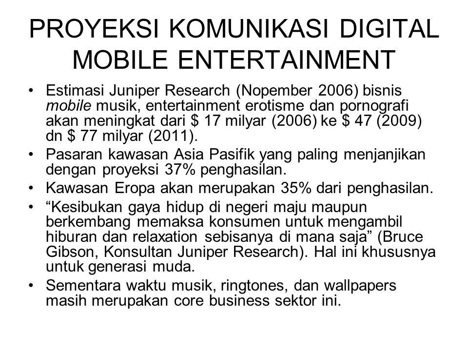 PROYEKSI KOMUNIKASI DIGITAL MOBILE ENTERTAINMENT Estimasi Juniper Research (Nopember 2006) bisnis mobile musik, entertainment erotisme dan pornografi akan meningkat dari $ 17 milyar (2006) ke $ 47 (2009) dn $ 77 milyar (2011).