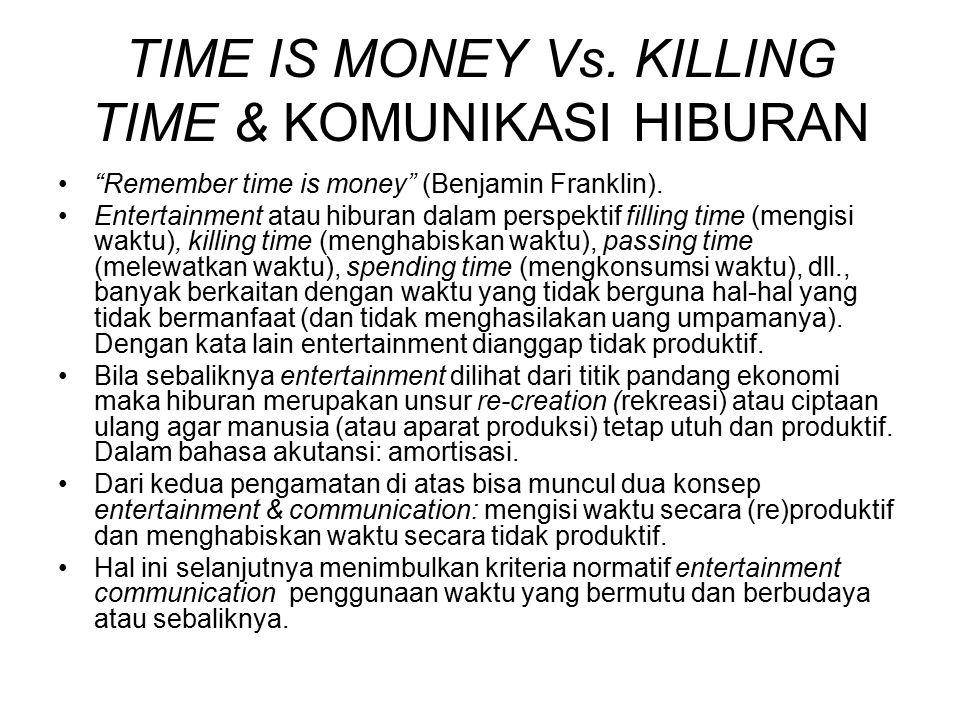 TIME IS MONEY Vs.KILLING TIME & KOMUNIKASI HIBURAN Remember time is money (Benjamin Franklin).