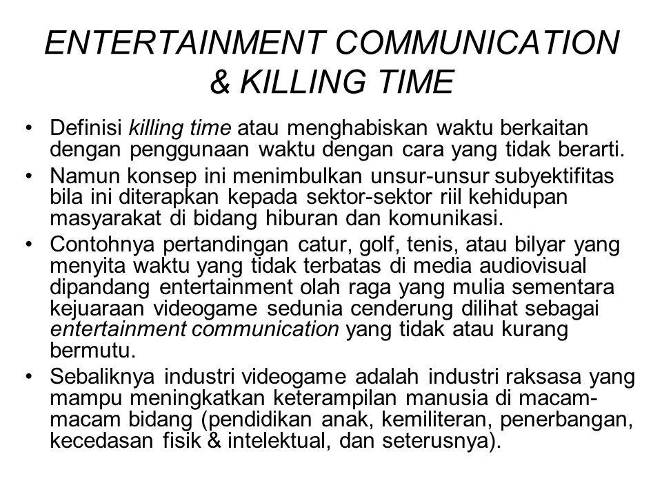 ENTERTAINMENT COMMUNICATION & KILLING TIME Definisi killing time atau menghabiskan waktu berkaitan dengan penggunaan waktu dengan cara yang tidak bera