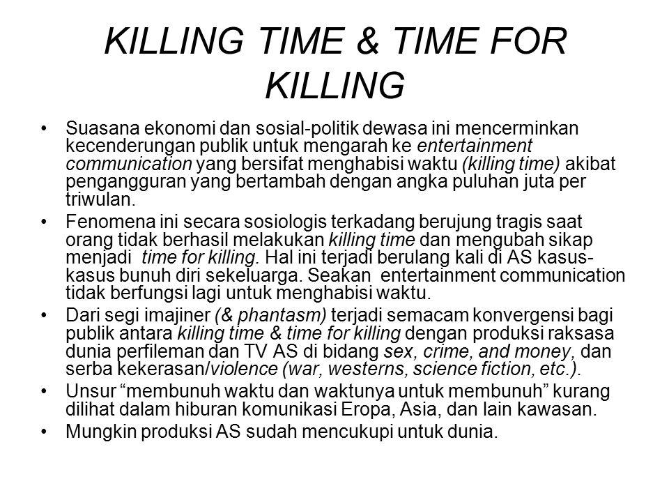 KILLING TIME & TIME FOR KILLING Suasana ekonomi dan sosial-politik dewasa ini mencerminkan kecenderungan publik untuk mengarah ke entertainment commun