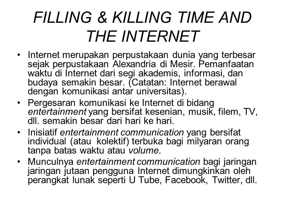 FILLING & KILLING TIME AND THE INTERNET Internet merupakan perpustakaan dunia yang terbesar sejak perpustakaan Alexandria di Mesir. Pemanfaatan waktu