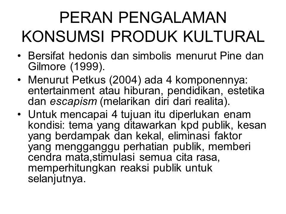 PERAN PENGALAMAN KONSUMSI PRODUK KULTURAL Bersifat hedonis dan simbolis menurut Pine dan Gilmore (1999). Menurut Petkus (2004) ada 4 komponennya: ente