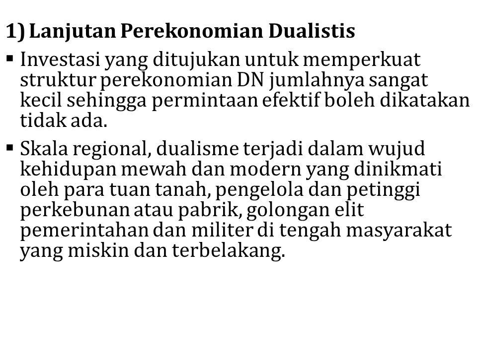 1)Lanjutan Perekonomian Dualistis  Investasi yang ditujukan untuk memperkuat struktur perekonomian DN jumlahnya sangat kecil sehingga permintaan efek