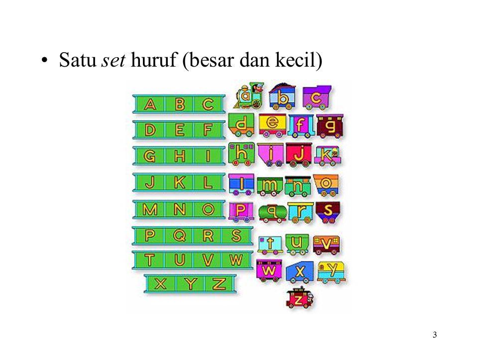 3 Satu set huruf (besar dan kecil)
