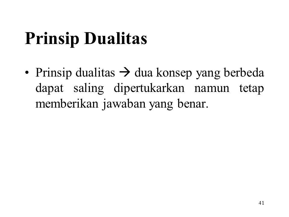41 Prinsip Dualitas Prinsip dualitas  dua konsep yang berbeda dapat saling dipertukarkan namun tetap memberikan jawaban yang benar.