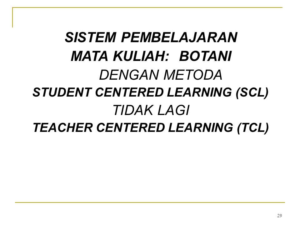 29 SISTEM PEMBELAJARAN MATA KULIAH: BOTANI DENGAN METODA STUDENT CENTERED LEARNING (SCL) TIDAK LAGI TEACHER CENTERED LEARNING (TCL)