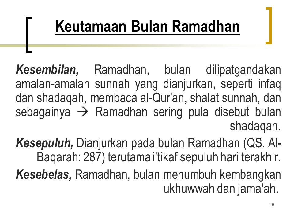 10 Keutamaan Bulan Ramadhan Kesembilan, Ramadhan, bulan dilipatgandakan amalan-amalan sunnah yang dianjurkan, seperti infaq dan shadaqah, membaca al-Q