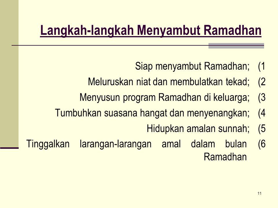 11 Langkah-langkah Menyambut Ramadhan 1)Siap menyambut Ramadhan; 2)Meluruskan niat dan membulatkan tekad; 3)Menyusun program Ramadhan di keluarga; 4)T