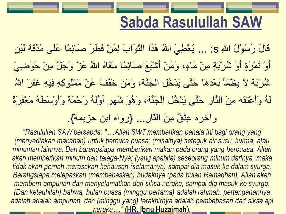 7 Keutamaan Bulan Ramadhan Keenam, Do'a mustajab/dikabulkan قَالَ رَسُوْلُ اللهِ s: ثَلاَثٌ دَعَوَاتٍ مُسْتَجَابَاتٌ: دَعْوَةُ الصَّائِمِ وَدَعْوَةُ الْمُسَافِرِ وَدَعْوَةُ الْمَظْلُومِ.