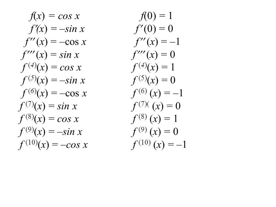 f(x) = cos x f(0) = 1 f(x) = –sin x f (0) = 0 f  (x) = –cos x f  (x) = –1 f  (x) = sin x f  (x) = 0 f (4) (x) = cos x f (4) (x) = 1 f (5) (x
