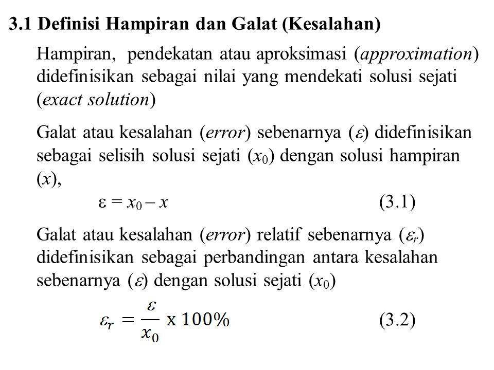 3.1 Definisi Hampiran dan Galat (Kesalahan) Hampiran, pendekatan atau aproksimasi (approximation) didefinisikan sebagai nilai yang mendekati solusi se