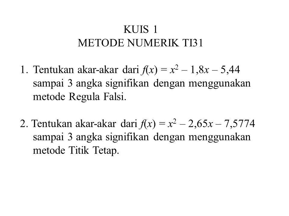 KUIS 1 METODE NUMERIK TI31 1.Tentukan akar-akar dari f(x) = x 2 – 1,8x – 5,44 sampai 3 angka signifikan dengan menggunakan metode Regula Falsi. 2. Ten