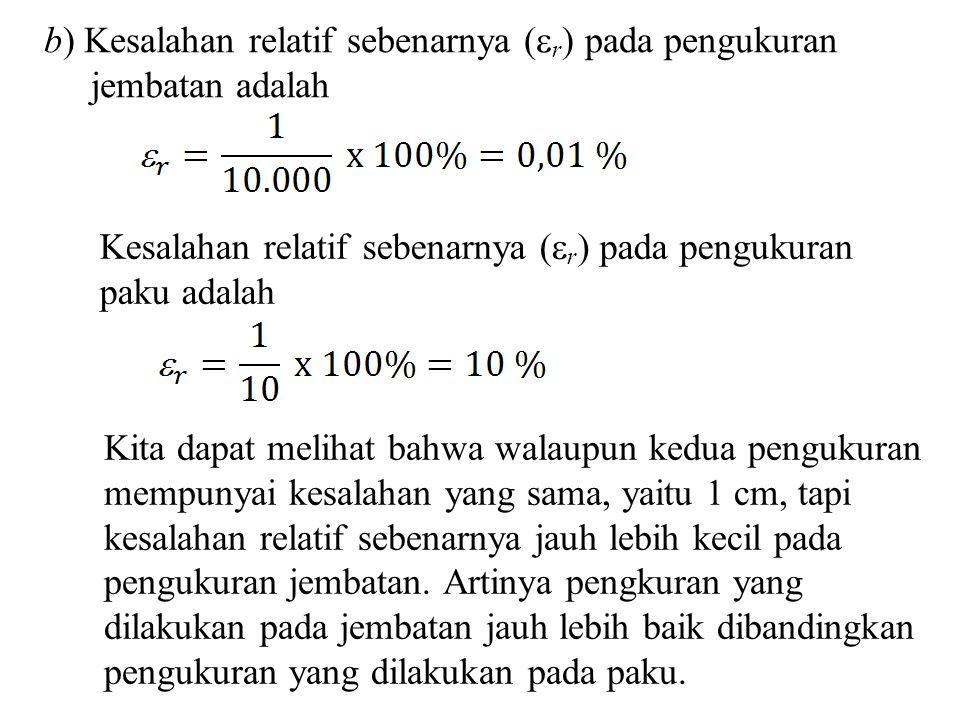 b) Kesalahan relatif sebenarnya (  r ) pada pengukuran jembatan adalah Kesalahan relatif sebenarnya (  r ) pada pengukuran paku adalah Kita dapat me