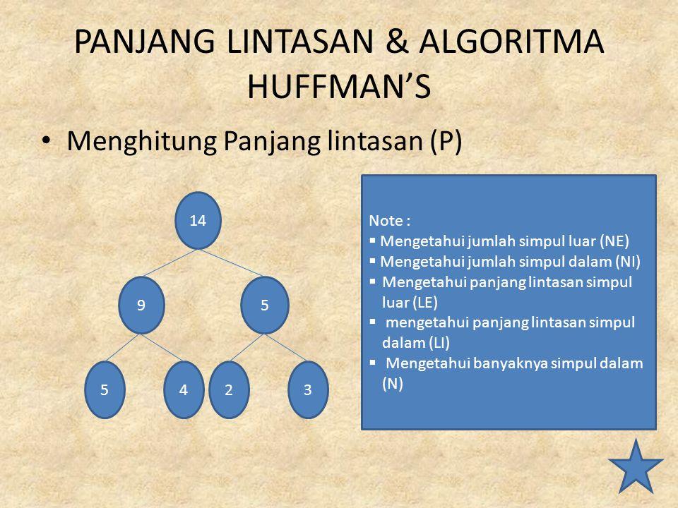PANJANG LINTASAN & ALGORITMA HUFFMAN'S Menghitung Panjang lintasan (P) 14 95 5423 Note :  Mengetahui jumlah simpul luar (NE)  Mengetahui jumlah simp