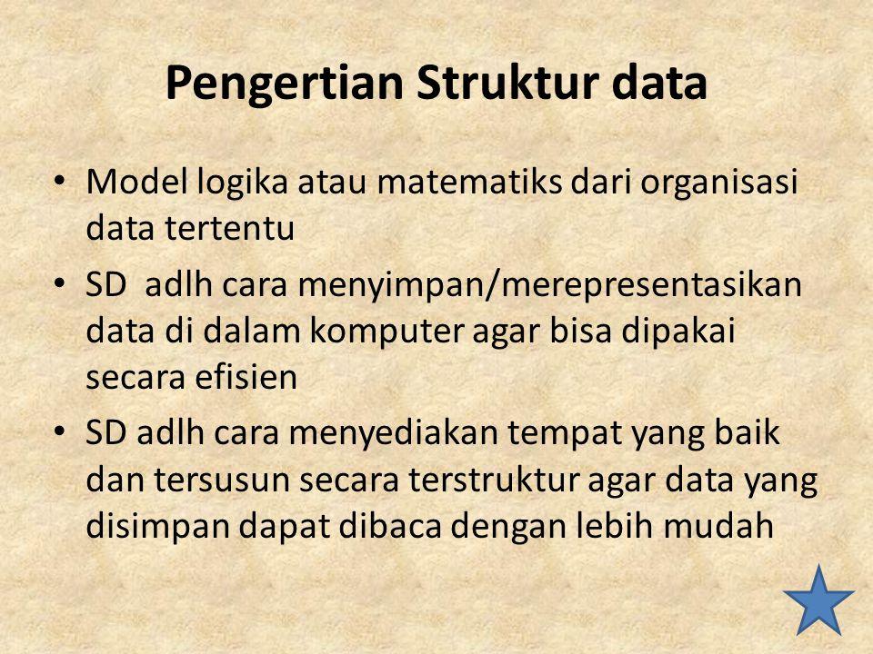 Pengertian Struktur data Model logika atau matematiks dari organisasi data tertentu SD adlh cara menyimpan/merepresentasikan data di dalam komputer ag