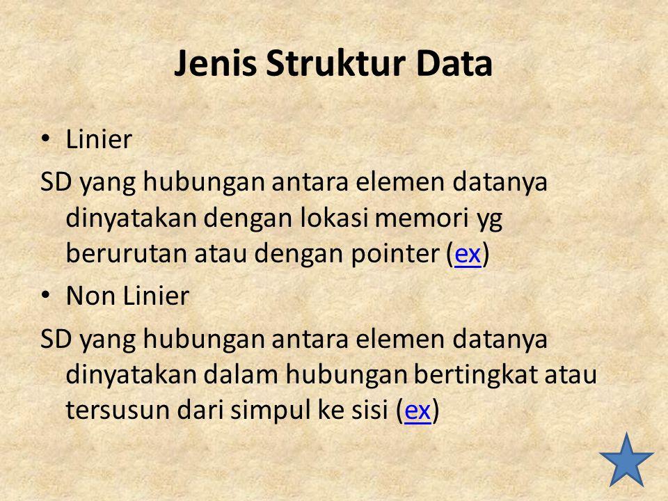 Jenis Struktur Data Linier SD yang hubungan antara elemen datanya dinyatakan dengan lokasi memori yg berurutan atau dengan pointer (ex)ex Non Linier S