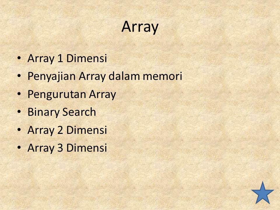 Array Array 1 Dimensi Penyajian Array dalam memori Pengurutan Array Binary Search Array 2 Dimensi Array 3 Dimensi