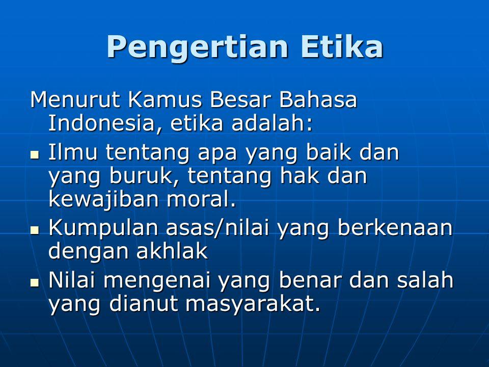 Pengertian Etika Menurut Kamus Besar Bahasa Indonesia, etika adalah: Ilmu tentang apa yang baik dan yang buruk, tentang hak dan kewajiban moral.