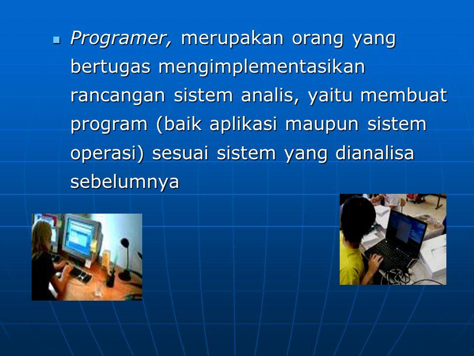 Programer, merupakan orang yang bertugas mengimplementasikan rancangan sistem analis, yaitu membuat program (baik aplikasi maupun sistem operasi) sesu