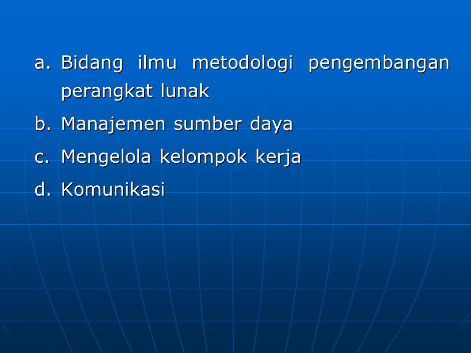 a.Bidang ilmu metodologi pengembangan perangkat lunak b.Manajemen sumber daya c.Mengelola kelompok kerja d.Komunikasi