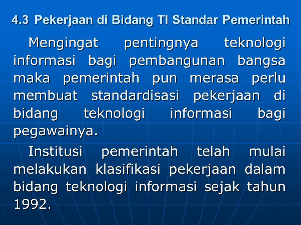 4.3Pekerjaan di Bidang TI Standar Pemerintah Mengingat pentingnya teknologi informasi bagi pembangunan bangsa maka pemerintah pun merasa perlu membuat