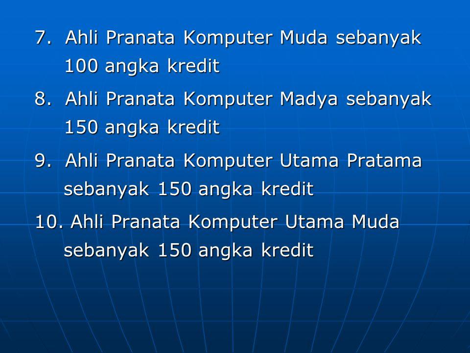 7. Ahli Pranata Komputer Muda sebanyak 100 angka kredit 8. Ahli Pranata Komputer Madya sebanyak 150 angka kredit 9. Ahli Pranata Komputer Utama Pratam