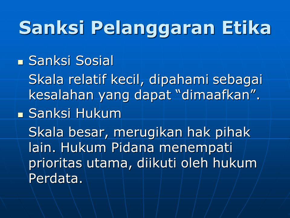 Sanksi Pelanggaran Etika Sanksi Sosial Sanksi Sosial Skala relatif kecil, dipahami sebagai kesalahan yang dapat dimaafkan .