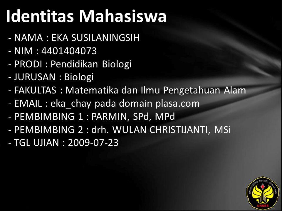 Identitas Mahasiswa - NAMA : EKA SUSILANINGSIH - NIM : 4401404073 - PRODI : Pendidikan Biologi - JURUSAN : Biologi - FAKULTAS : Matematika dan Ilmu Pe