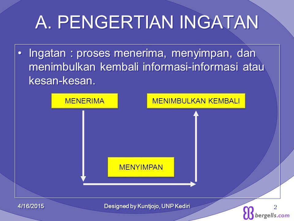 A. PENGERTIAN INGATAN A. PENGERTIAN INGATAN Ingatan : proses menerima, menyimpan, dan menimbulkan kembali informasi-informasi atau kesan-kesan. Ingata