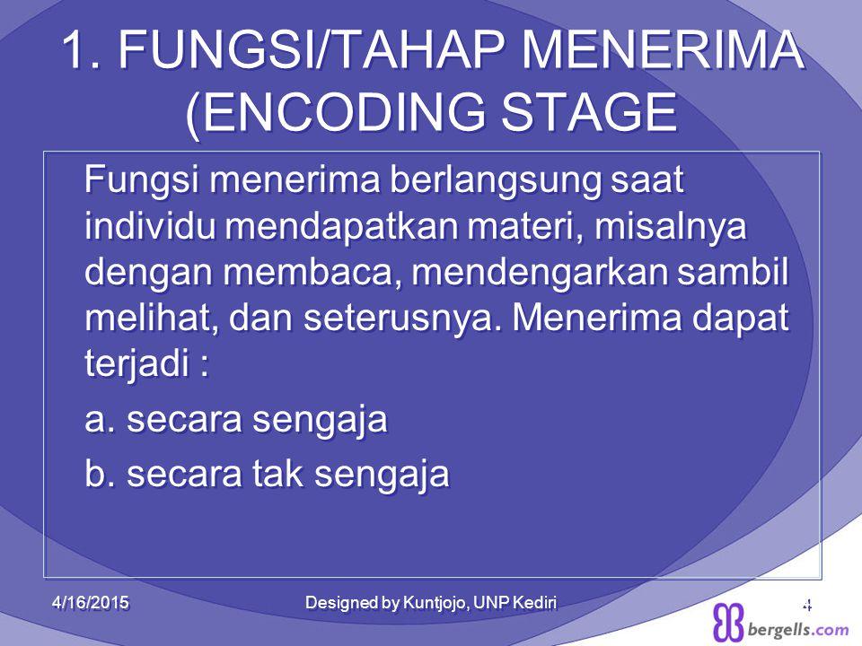 1. FUNGSI/TAHAP MENERIMA (ENCODING STAGE Fungsi menerima berlangsung saat individu mendapatkan materi, misalnya dengan membaca, mendengarkan sambil me