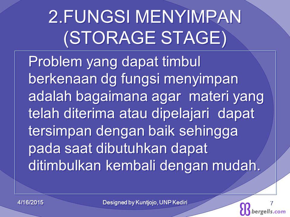 2.FUNGSI MENYIMPAN (STORAGE STAGE) Problem yang dapat timbul berkenaan dg fungsi menyimpan adalah bagaimana agar materi yang telah diterima atau dipel