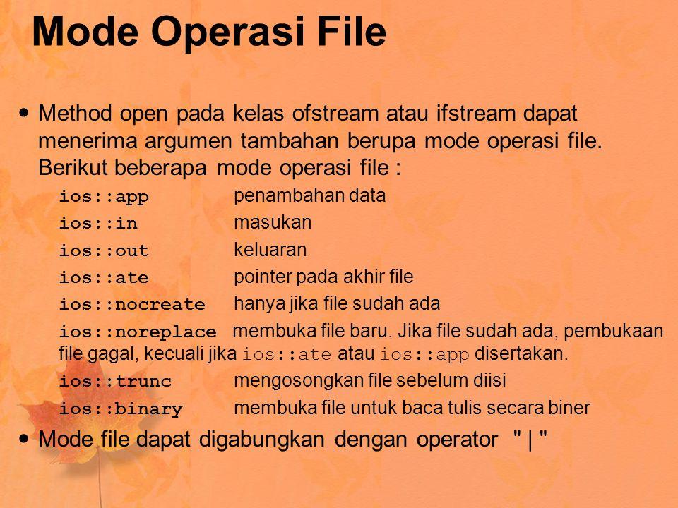Mode Operasi File Method open pada kelas ofstream atau ifstream dapat menerima argumen tambahan berupa mode operasi file.
