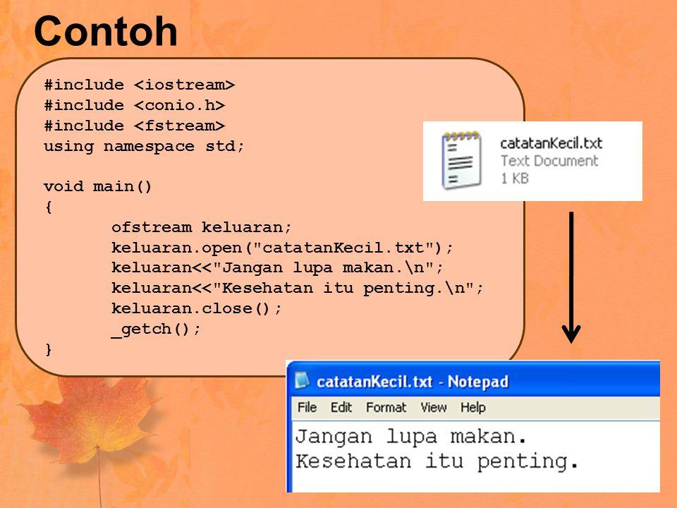 Setelah program pada halaman sebelumnya dijalankan, maka pada folder project akan terbentuk file bernama catatanKecil.txt Isi dari file tersebut adalah seperti yang kita kirimkan dari program : Jangan lupa makan. Ingat, karakter \n di akhir kalimat adalah karakter newline untuk berpindah baris.