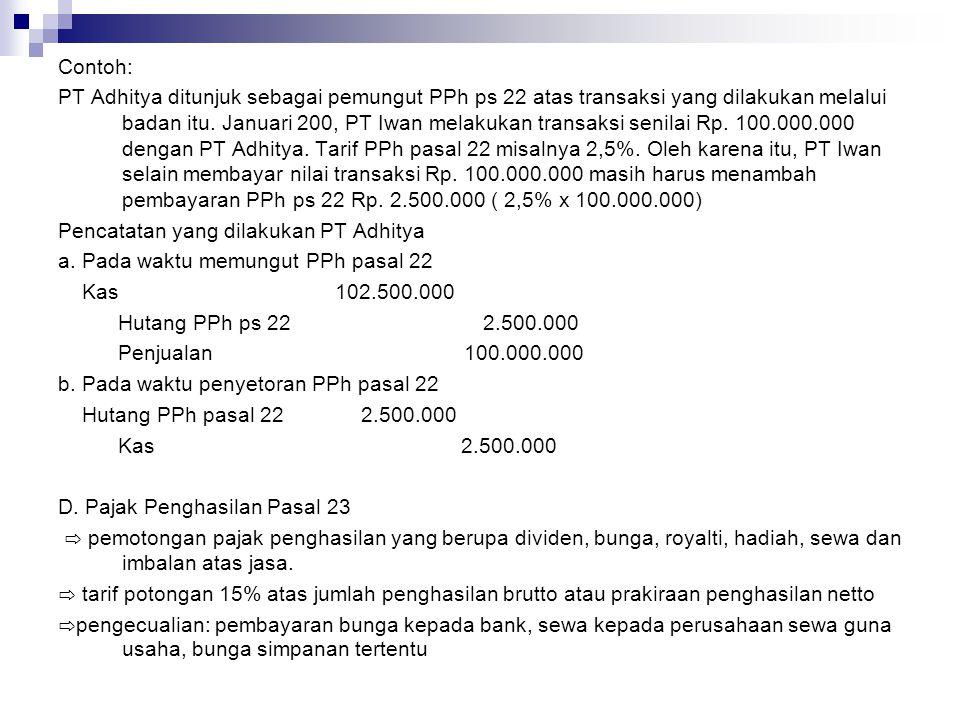 Contoh: PT Adhitya membayar bunga kepada PT Iwan Rp.
