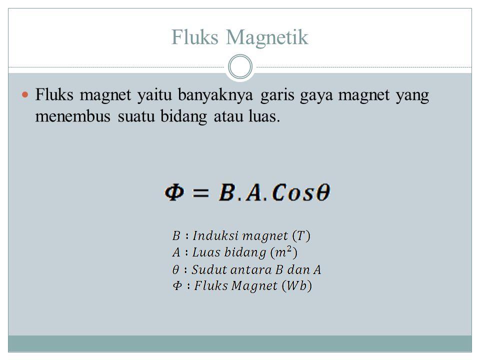 Fluks Magnetik Fluks magnet yaitu banyaknya garis gaya magnet yang menembus suatu bidang atau luas.