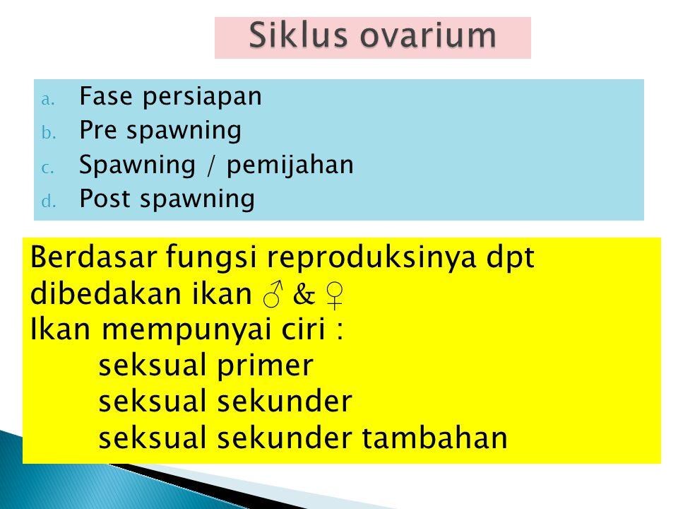 a. Fase persiapan b. Pre spawning c. Spawning / pemijahan d. Post spawning Berdasar fungsi reproduksinya dpt dibedakan ikan ♂ & ♀ Ikan mempunyai ciri